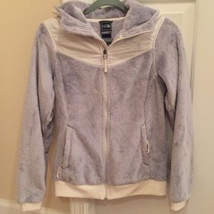 NWOT!!!! The North Face grey fur zip up with hood!